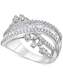 Diamond Baguette Crossover Statement Ring (1 ct. t.w.) in 14k White Gold