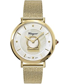 Women's Swiss Minuetto Gold Ion-Plated Stainless Steel Mesh Bracelet Watch 36mm
