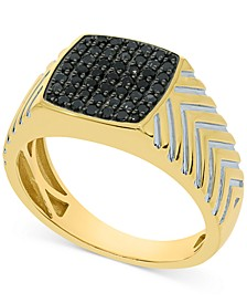 Men's Black Diamond Cluster Ring (1/2 ct. t.w.) in 10K Gold-Plated Sterling Silver