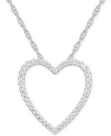 "Diamond Heart 18"" Pendant Necklace (1/4 ct. t.w.) in Sterling Silver"