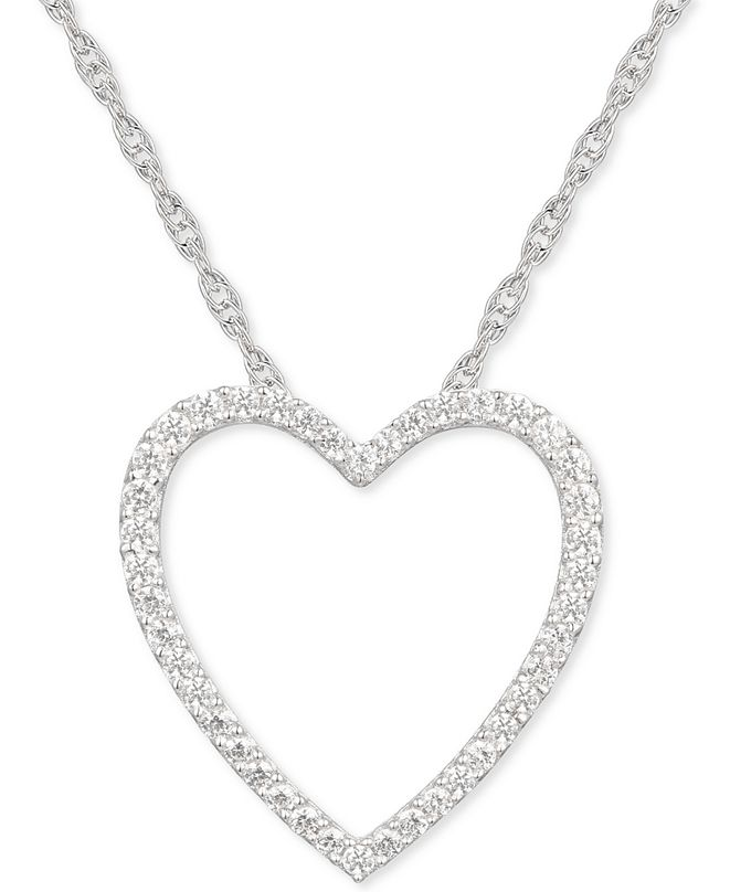 "Macy's Diamond Heart 18"" Pendant Necklace (1/4 ct. t.w.) in Sterling Silver"