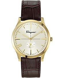 Men's Swiss Slim Gent Brown Calf Leather Strap Watch 40mm