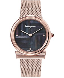 Women's Swiss Gancini Slim Diamond Accent Rose Gold Ion-Plated Mesh Bracelet Watch 34mm