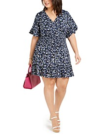 Plus Size Floral-Print Smocked-Waist Dress