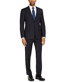 Men's Classic-Fit Navy Blue Pinstripe Suit Separates, Created for Macy's