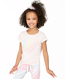 Little Girls Heart Tie-Front T-Shirt, Created for Macy's