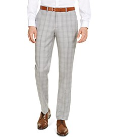 Men's Modern-Fit Light Gray Plaid Suit Pants, Created for Macy's