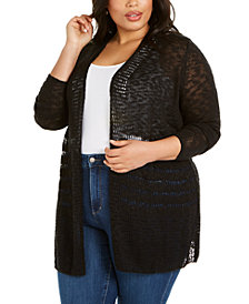 Belldini Plus Size Open-Front Pointelle Cardigan Sweater