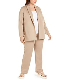 Plus Size Notch-Lapel Jacket & Straight Pants