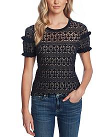 Ruffled Cotton Pointelle Sweater