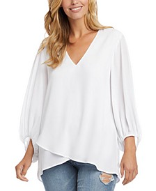 Crossover Hem Blouson-Sleeve Top