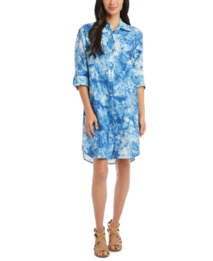Karen Kane Linen Tie-Dyed Shirt Dress