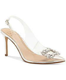 INC Women's Kenina Crystal Ornament Slingback Heels, Created for Macy's