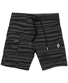 Toddler & Little Boys Logo-Stripe Mod-Tech Boardshorts