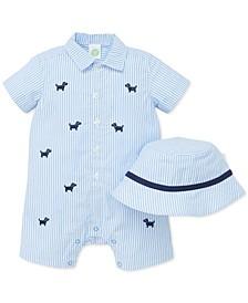 Baby Boys 2-Pc. Cotton Striped Hat & Puppy Romper