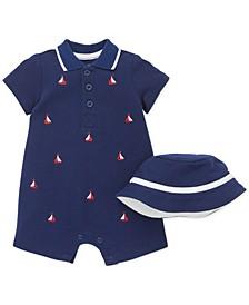 Baby Boys 2-Pc. Cotton Hat & Sailboat Polo Romper