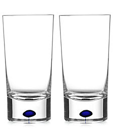 Orrefors Intermezzo Blue Highball Pair