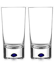 Orrefors Intermezzo Blue Highball Pair