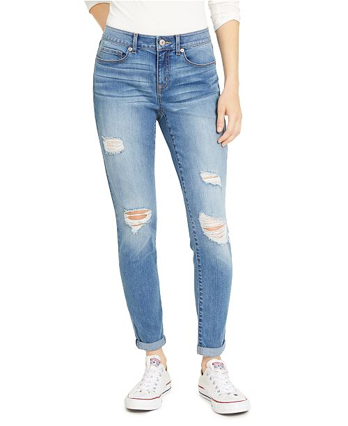 Rewash Juniors' Ripped Cuffed Jeggings