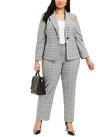 Plus Size Plaid Notch-Collar Pantsuit