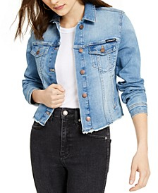 Cotton Frayed Trucker Denim Jacket