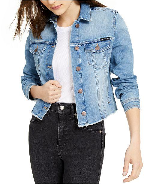 Calvin Klein Jeans Cotton Frayed Trucker Denim Jacket