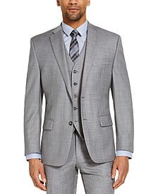CLOSEOUT! Men's Classic-Fit Airsoft Stretch Grey Solid Suit Jacket