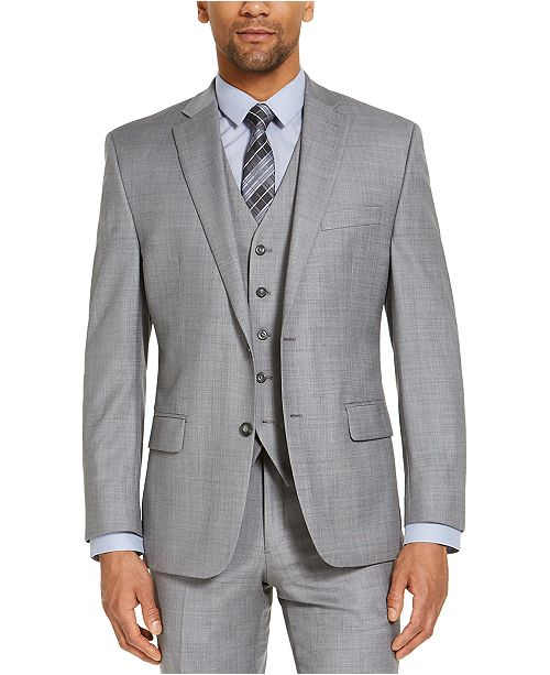 Michael Kors CLOSEOUT! Men's Classic-Fit Airsoft Stretch Grey Solid Suit Jacket