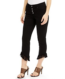 INC Petite Fringe-Hem Button-Front Cropped Jeans, Created for Macy's