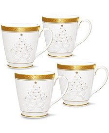 Crestwood Gold Set/4 Holiday Mugs