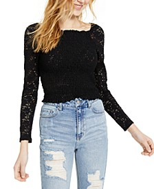 Juniors' Smocked Lace Top