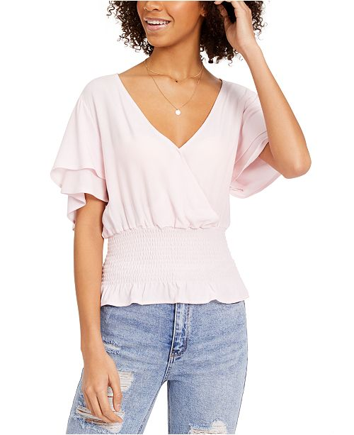 Ultra Flirt Juniors' Smocked-Waist Flutter-Sleeved Top