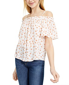 Juniors' Printed Off-The-Shoulder Top
