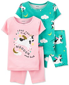 Baby Girls 4-Pc. Cow-Print Cotton Pajamas Set