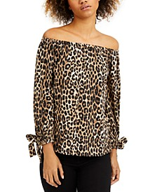 Leopard-Print Off-The-Shoulder Top
