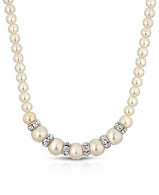 Silver-Tone White Graduated Imitation Pearl and Crystal Necklace