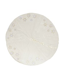 Snowflake Sequin Soft Plush Furry Light up Christmas Treeskirt Round