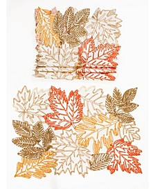 Autumn Leaves Embroidered Cutwork Placemats - Set of 4