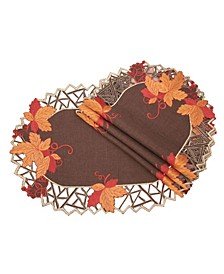 Harvest Hues Embroidered Cutwork Fall Placemats - Set of 4