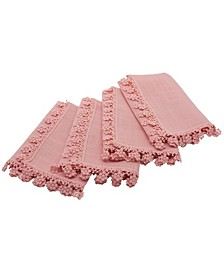 Floral Charm Lace Trim Napkins - Set of 4
