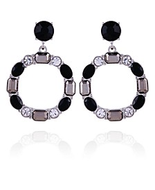 Mixed Gems Front Facing Hoop Earring