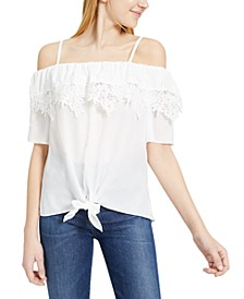 Juniors' Off-The-Shoulder Tie-Front Top