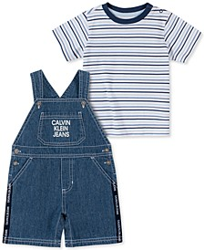 Baby Boys 2-Pc. Striped T-Shirt & Shortalls Set