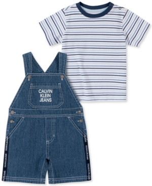Calvin Klein Baby Boys 2-Pc. Striped T-Shirt & Shortalls Set
