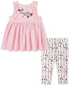 Baby Girls 2-Pc. Ruffle Tunic & Floral-Print Leggings Set