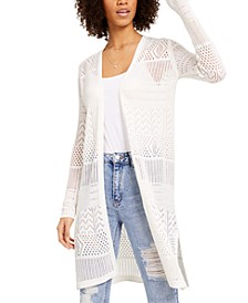 Juniors' Open-Knit Duster Sweater