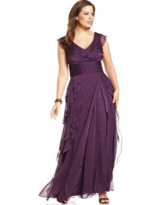 Adrianna Papell Plus Size Tiered Empire Gown - Dresses - Women ...
