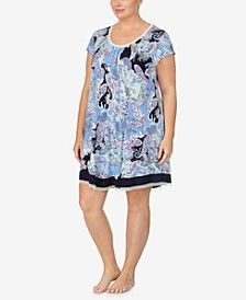 Plus Size Paisley Knit Chemise Nightgown, Online Only