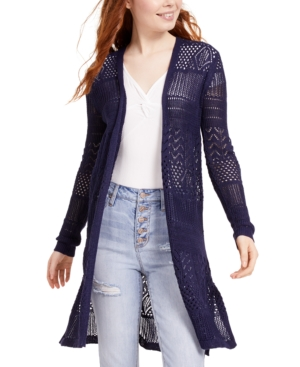 Hooked Up by Iot Juniors' Open-Knit Duster Sweater