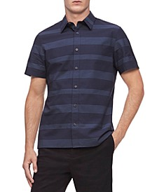 Men's Short Sleeve Stretch Cotton Stripe Shirt